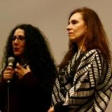 Andrea Giunta, à direita, e Cecília Fajardo-Hill, à esquerda, durante evento de abertura de Mulheres radicais, na Pinacoteca de São Paulo. Fotografia: Vanessa Nicolav